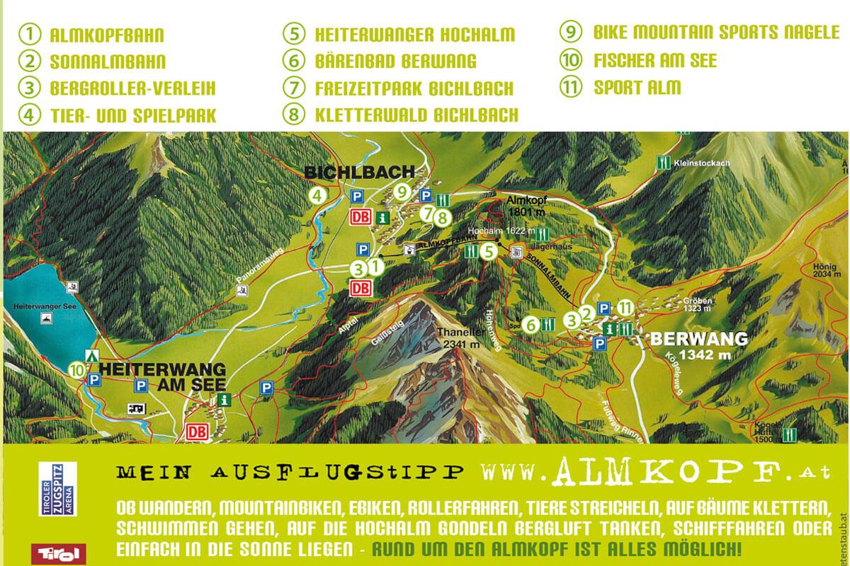 Map of Almkopf Berwang Bichlbach